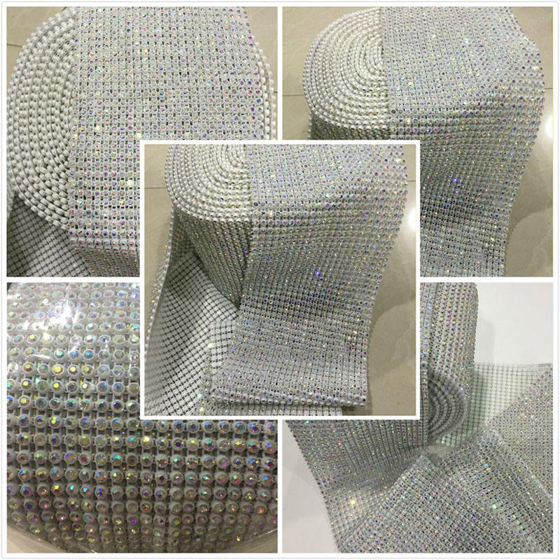 JP STRASS 24 rows elastic style mesh trimming base White/Black/Transparent color for decoration