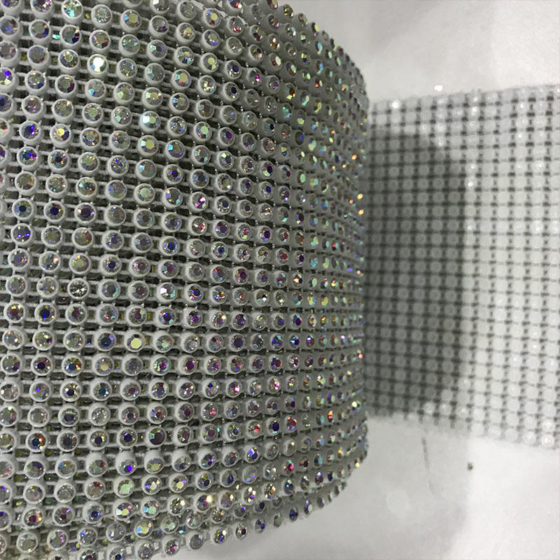 JP STRASS 24 rows plastic rhinestone mesh trimming with stretch base White/Black/Colorful for decoration