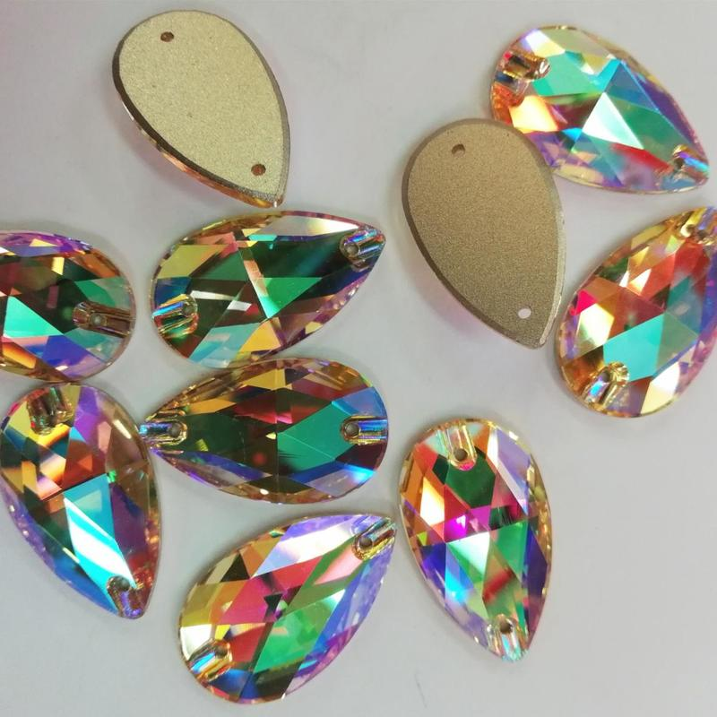JP rhinestones Shiny Color Teardrop Sew On Crystal Glass for the ladies dress and the clothing