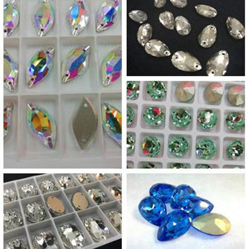 Sew on 2 holes teardrop shape crystal glass beads wholesale supplier