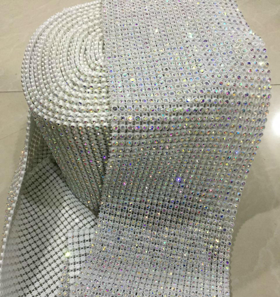 elastic banding with rhinestone trimming wholesale supplier 18 rows and 24 rows  with ab crystal