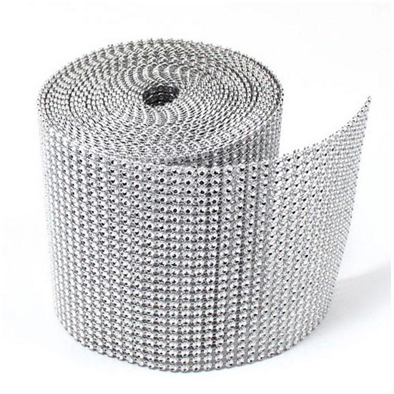 Silver-base-empty-imitation-rhinestone-ribbon-chain-mesh-trimming-4mm-wholesale-10-yards-each-roll