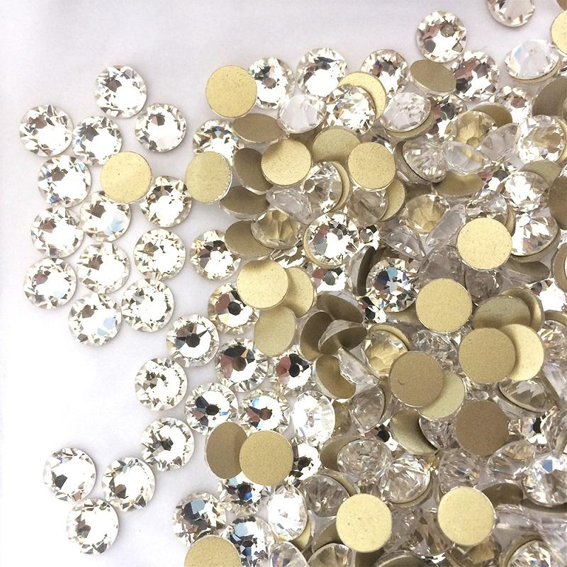 gold foiled non hot fix loose flat back ss16 crystal 16 cutting facets super shiny for nails decoration