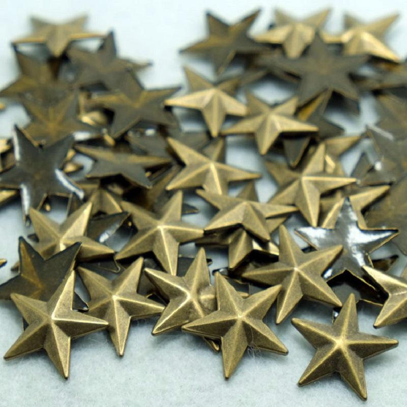 factory hot selling hot fix copper studs five star shape wholesale supplier