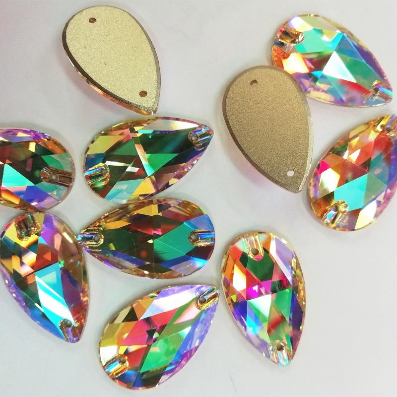 sewing tear drop ab crystal beads with hole for making evening dresses decorations