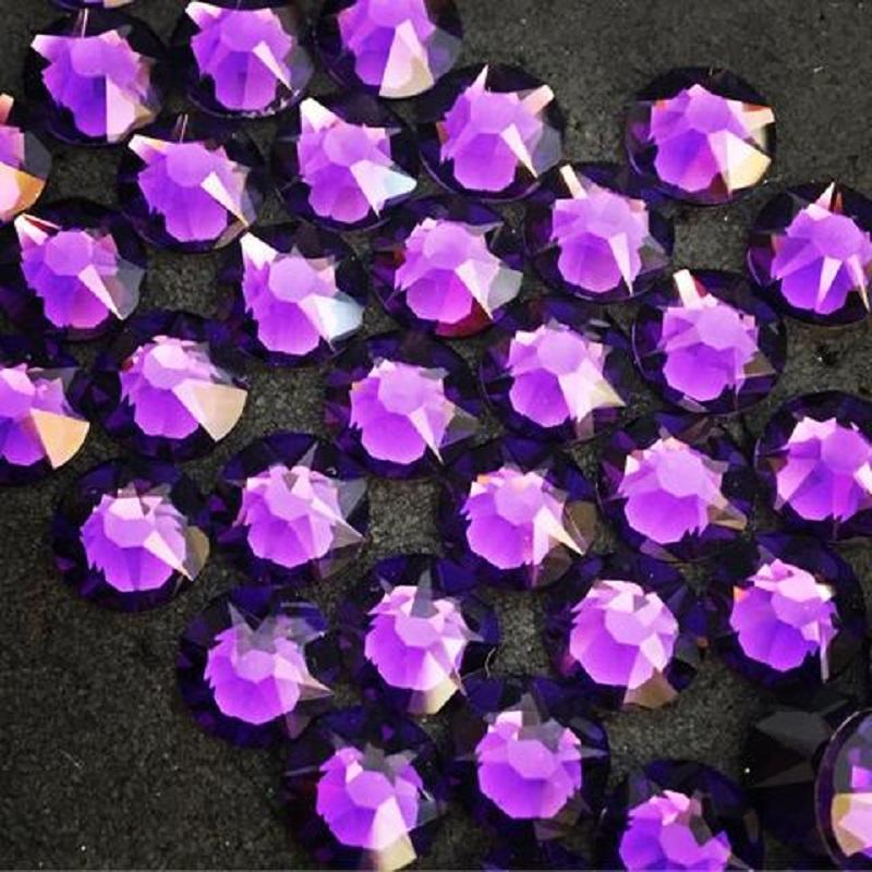 shiny crystal stones hot fix purple velvet color rhinestone making for transfer designs