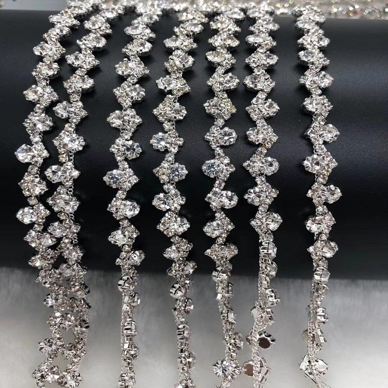 Fancy Metal Cup Chain Rhinestone Trimming For Off-Shoulder Clothes