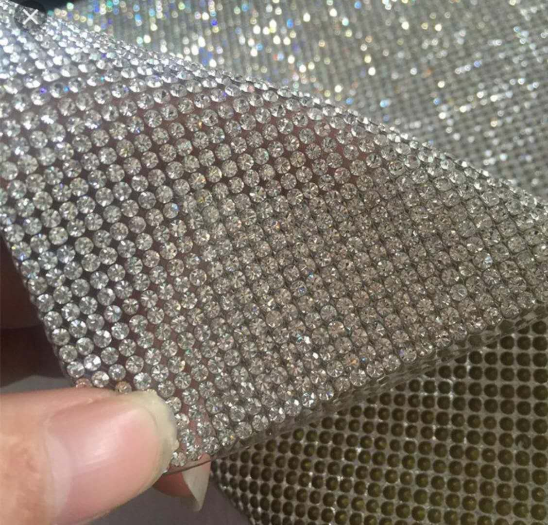 Jpstrass-2440cm Sheet Trim Mesh With Crystal Clear Used For Garment Ornaments Decoration-1