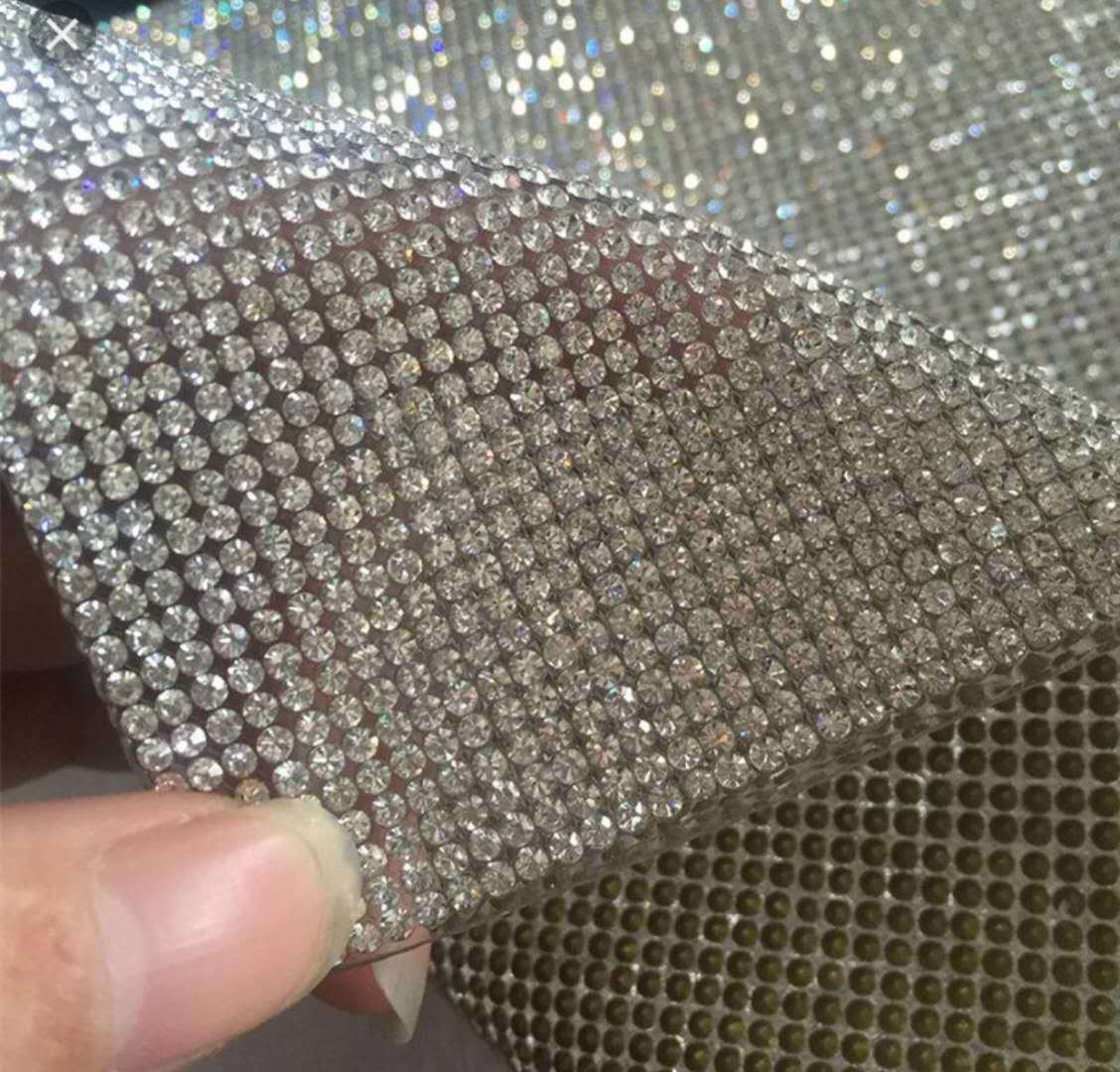 24*40cm sheet trim mesh with crystal clear used for garment ornaments decoration pieces