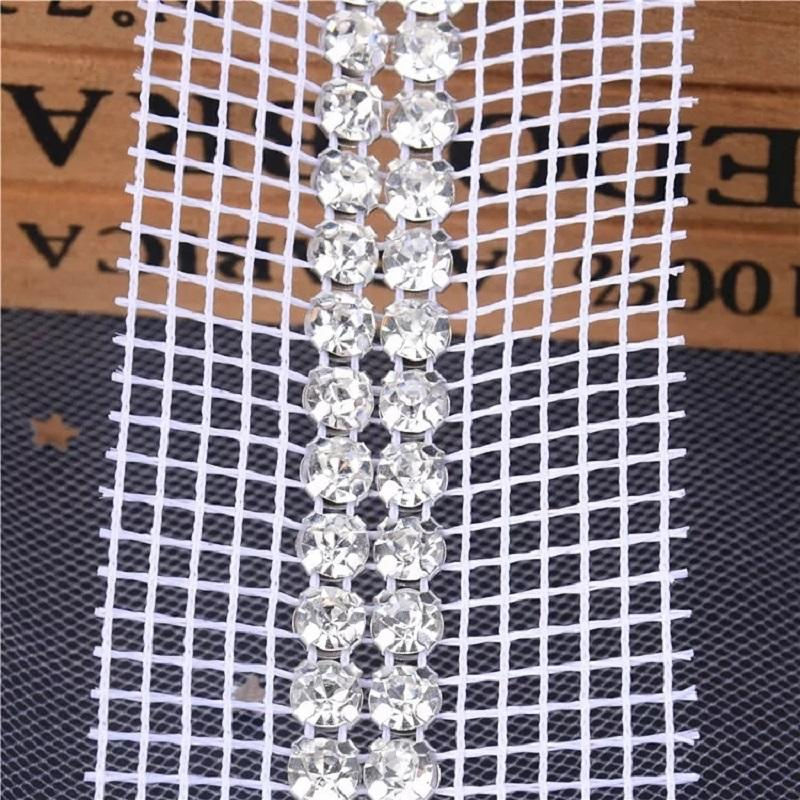 Plastic crystal chain setting with black or white mesh 2 rows Swaro crystal yard