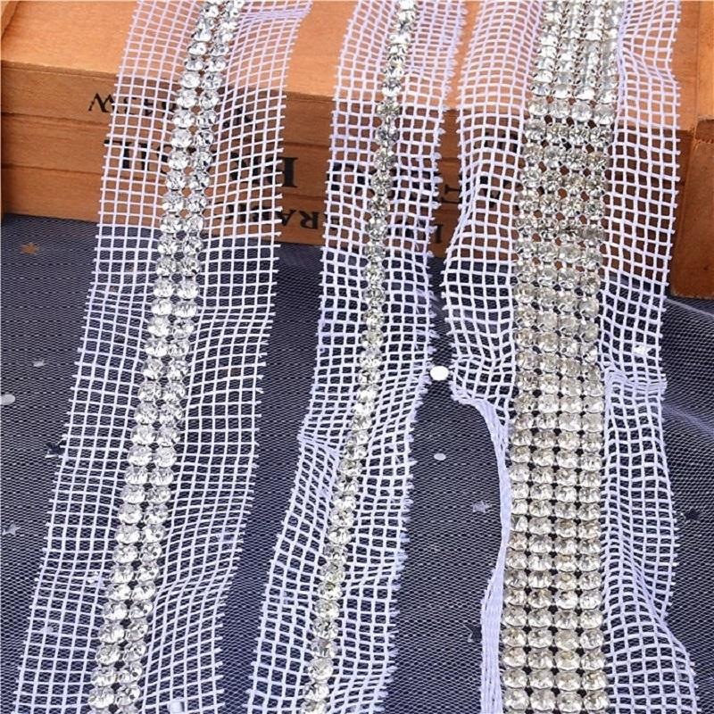 customized plastic mesh trimming white or neutral fabric TRIM with 4 rows of rhinestones