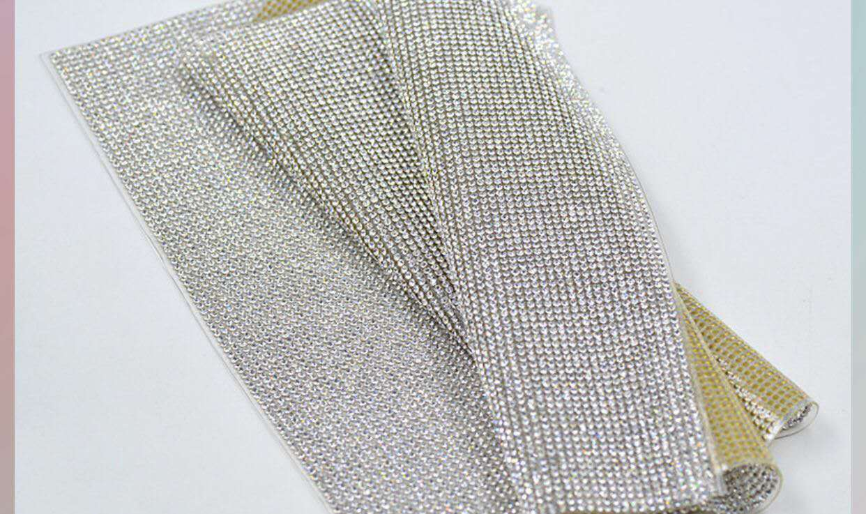 120*45cm 3mm gold base with ab crystal trimming hot fix rhinestone sheet for clothing decoration