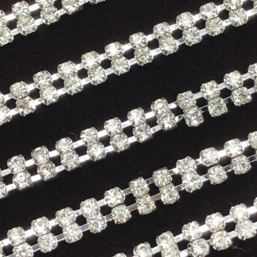 2 rows silver and gold plate with crystal chain trimming 10 yards each roll shiny 6A grade