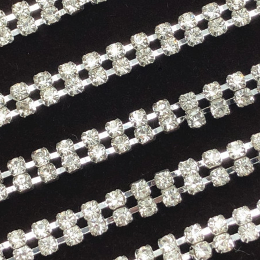 Jpstrass-2 Rows Silver And Gold Plate With Crystal Chain Trimming 10 Yards Each-5