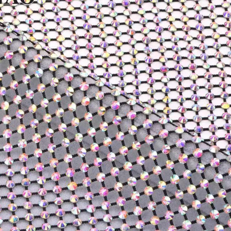 New style of plastic mesh trimming size 120*36CM each sheet trimming wholesale AB Crystal