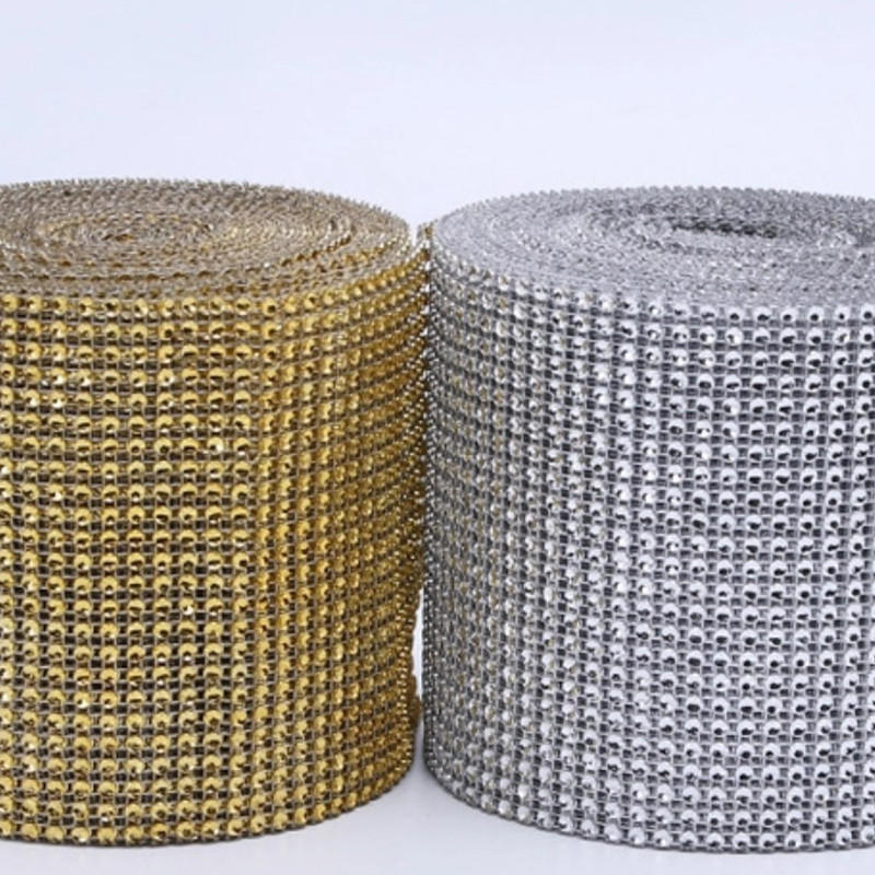 Cheap Price Empty Plastic Mesh Trimming 10 Yards Each Rhinestones Roll