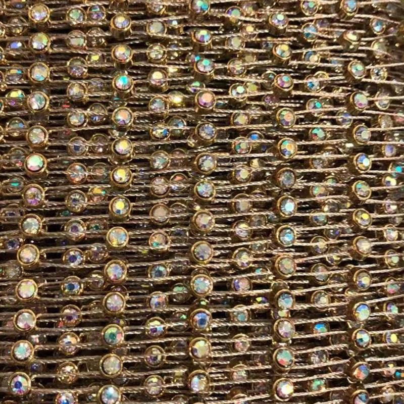 3MM SS12 Gold Fishnet AB Crystal Plastic Chain Rhinestone Roll 10 Yards