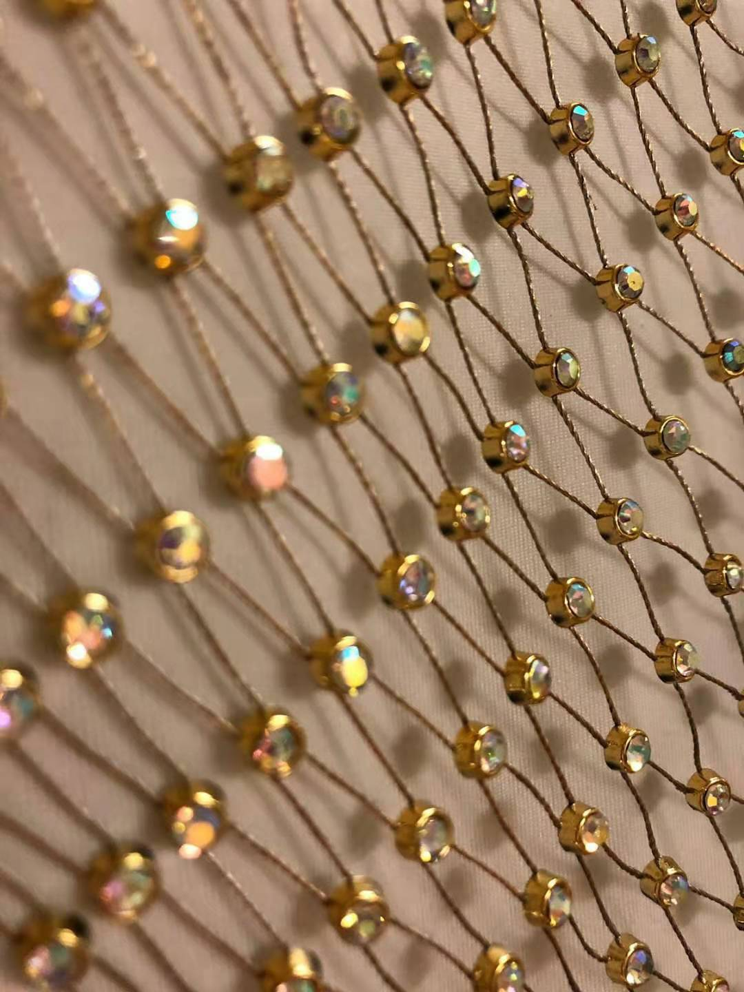 product-Jpstrass-3MM SS12 Gold Color Fish Net AB Crystal Plastic Chain Rolls 10 Yards-img
