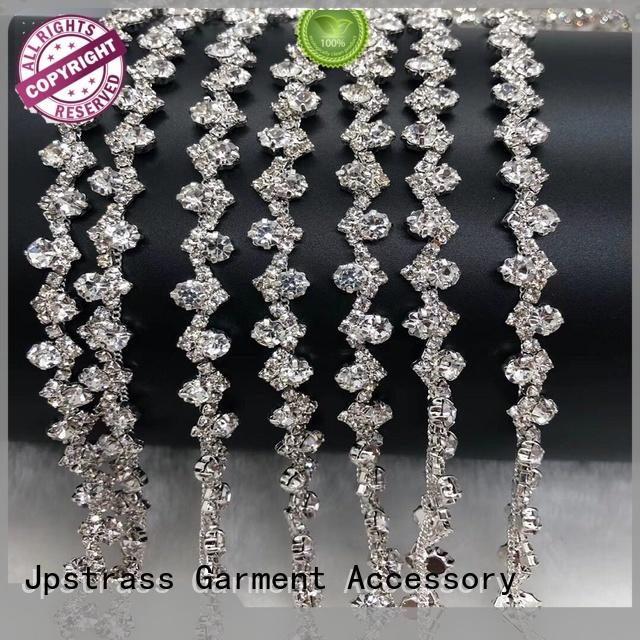 Jpstrass design gold rhinestone ribbon manufacturer for dress
